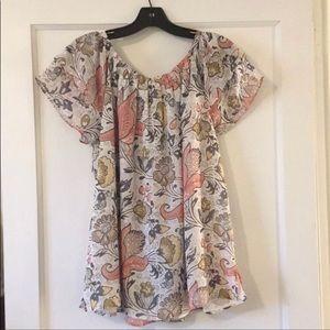Ann Taylor Loft Large Short Sleeve Floral Tunic